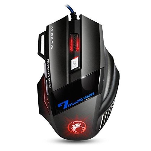 Apedra,Mouse ottico per il gioco,Dark Knight X7,LED per far respirare la luce respiratoria, 4 mouse regolabili DPI 7 pulsanti programmabili Mouse da gioco per Windows XP/Vista/7/8/10/MAC OS X