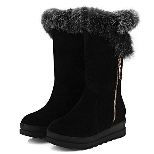 TAOFFEN Damen Winter warm Halbschaft Schnee Stiefel Snow Boots Schwarz