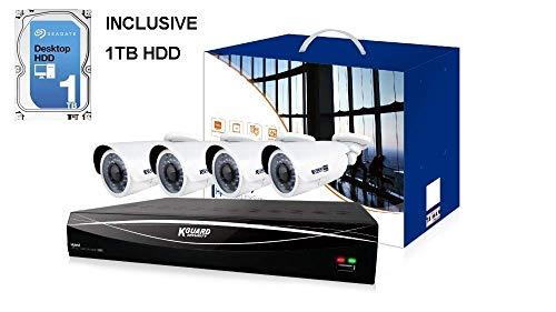 ANPIX komplete uberwachungskamera Set System KGUARD CCTV 12CH 1080N DVR Recorder mit 1TB HDD und mit 4 Outdoor 1080 2MP uberwachungskamera Set fur Innen und Aussen, 30m IR Nachtsicht Cctv-systeme