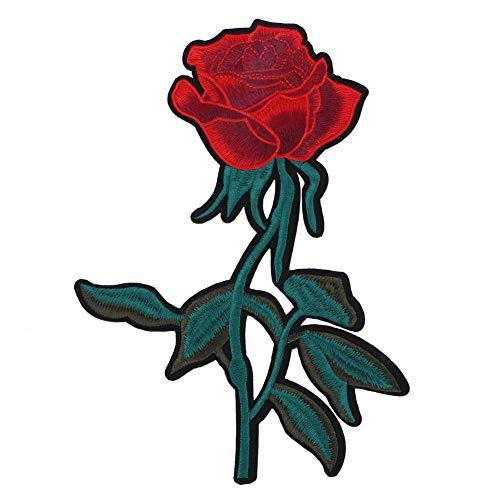 Grünes blatt rose tuch aufkleber, kleidung gestickt patch diy dekoration eisen nähen handwerk zubehör