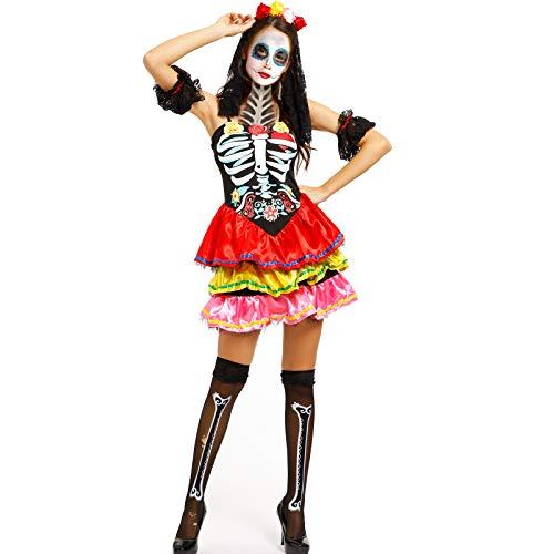 Anladia Damenkostüm Skeleton Skelett Kostüm Karneval Fasching Halloween Horrorkleid M