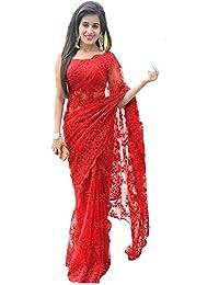 Vinayak Textiles Women's Net Saree (Red)