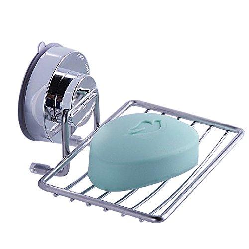 Seifenschale Halter Saver Tablett Edelstahl Leistungsstark Saugnapf Seifenschale Schwamm Holder Organizer Badezimmer Küche Zubehör–Einfache Installation und kein (Taco Kleid)
