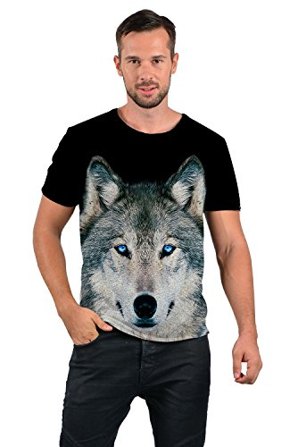 uideazone Mens 3D-Druck-Hipster Hemd mit Kurzen Ärmeln Lässige Graphics Tees wolf-b