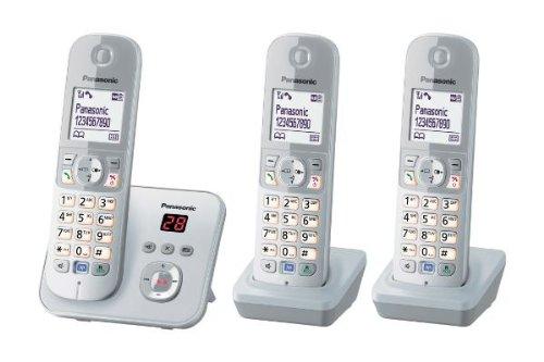 Panasonic KX-TG6823GS DECT-Schnurlostelefon (4,6 cm (1,8 Zoll) Grafik-Display) mit Anrufbeantworter perl-silber (Telefon Mit Mehreren Mobilteilen)