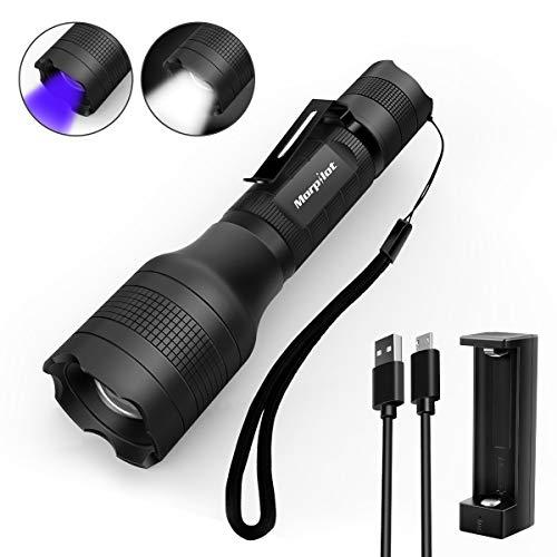 Linterna recargable Morpilot 2 EN 1 UV y LED Linterna Táctica con clip de bolsillo, 500...