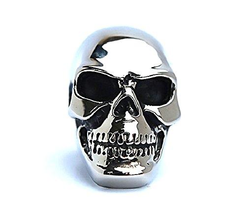 SanJiu Schmuck Herren Ringe Edelstahl Ring mit Totenkopf Schädel Retro Gotik Biker Punk Klassisch Ring für Herren Silber Größe 54 (17.2) (Freimaurer Männer Hosen)