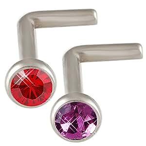 Calibre 18 18 g 1 mm x 7 mm Anneaux Piercings Nez Strass Vis os bars corps bijoux Boucles d'oreilles percées 2