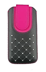 Emartbuy® Black / Hot Pink Gem Studded Premium PU Leather Slide in Pouch Cover ( LM2 ) With Pull Tab Suitable For Maxwest Gravity 5 LTE