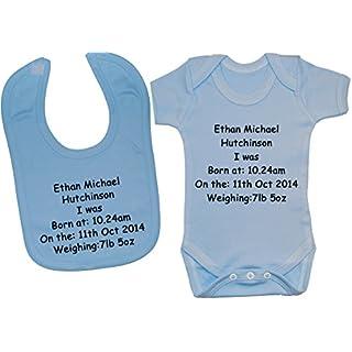 Acce Products Baby-Body mit Name, Uhrzeit, Geburtsdatum und Gewicht, 0-12 Monate Gr. 18-24 Monate, blau