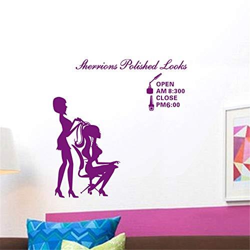 zlhcich FriseurMädchen Dame Friseursalon Name WandaufkleberHaarschneiden WandtattooFriseursalon Shop57 * 37 cm