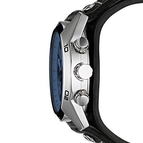 Fossil Herren Armbanduhr wasserdicht Coachman - mit schwarzem Lederarmband & blauem Mineralglas / Lederband Uhr mit Chronographen-Funktion, Datumsanzeige & Tachymeter - 2