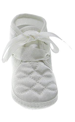 Baby weiß gesteppt Satin Ankle Booties Gr. 1-3 Monate, weiß (Santa Strampelanzug Kinder)