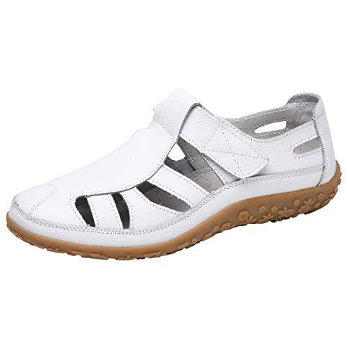 Gracosy Sandalias para Mujer de Cuero Punta Cerrada Mocasines Verano Plano Zapato Ahuecar Playa Sandalias...