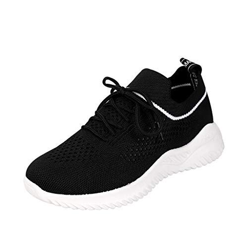 WOZOW Scarpe da Donna Scarpe Sportive Sneaker Tempo Libero All'aperto Casuale Traspirante Maglia Scarpe da Ginnastica Nero 38EU