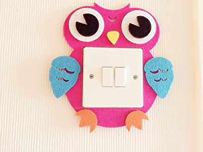 Owl Light Switch Wall Stickers, Blue And Pink 2 Colours Available! Unique On Amazon! Kids Children Boys Girls Room Nursery Decor! Free Delivery In 2 To 3 Working Days! - low-cost UK light store.