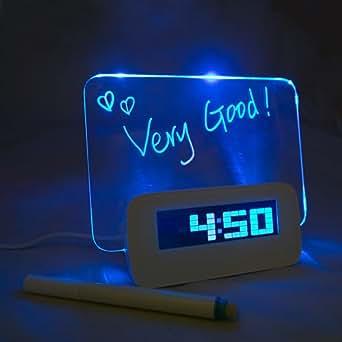 SHOPINNOV Reveil LED Affichage de messages fluorescents Alarme Hub 4 ports USB