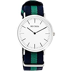 "RE:CRON women watch stainless steel 36 mm 1.42"" with textile wristband nylon maritime dark blue and green"