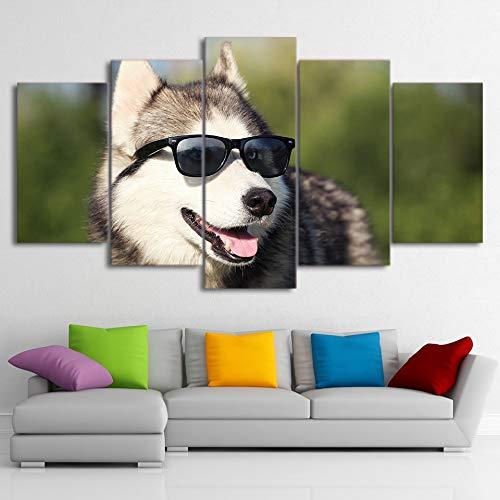 kxdrfz Moderne Wohnkultur HD Gedruckt Leinwand Poster Kunstwerke 5 Stücke Kühlen Husky Pet Gemälde Wandkunst Hund Tragen Brille Bilder-Frame