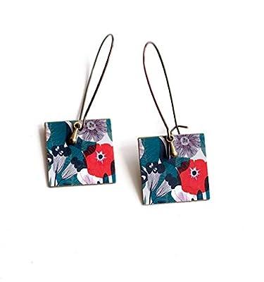 Boucles d'oreilles, pendantes, fantaisie, grandes fleurs coquelicots rouge et turquoise, bronze