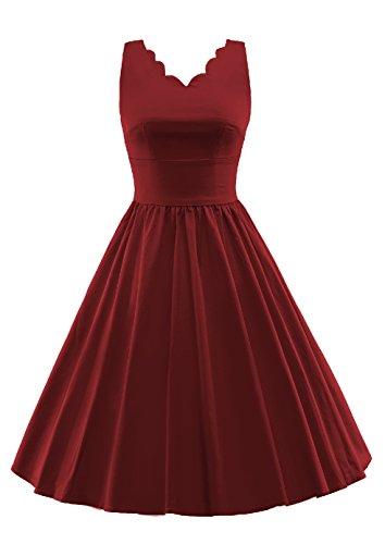 iRachel Damen 60s V-Neck Rockabilly Cocktailkleid Abendkleid Brautjungfer Brautkleid Party Kleid