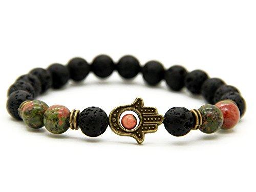 GOOD.designs Hand der Fatima - Perlenarmband aus verschiedenen Natursteinen, Energiearmband mit Hamsa-hand Anhänger, 'in deinen Händen' Armband...