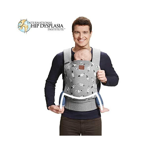 kk Kinderkraft Milo Ergonomic Baby Carrier Front Gray kk KinderKraft Ergonomic baby carrier for children aged from 3 months up to 20 kg Two baby carrying positions: on the stomach and on the back Rubber bands so that the belt ends do not hang 6