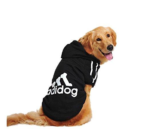 UUstar® Hundekleidung für kleine und große Hund (S bis 9XL) fünf Farben HundeHoddie (L, Schwarz)