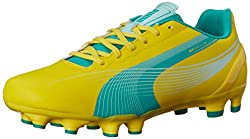PUMA Womens Evospeed 4. 2 Firm Ground Soccer Shoe, Vibrant Yellow/Spectra Green/Blue Light, 7 B US