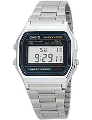 Casio A158WA1Q - Reloj Unisex metálico Negro / Plata