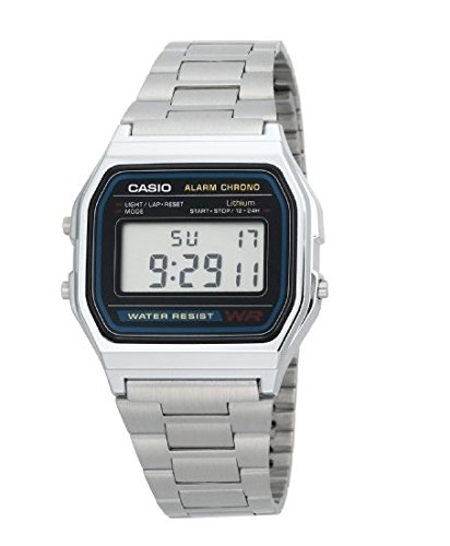 Casio-Mens-Alarm-Chrono-A158WA-1-Silver-Stainless-Steel-Resin-case-Quartz-Watch-with-Digital-Dial