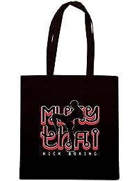 T-Shirtshock - Bolsa para la compra TAM0136 muay thai kick boxing hoodie dark