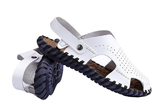 scarpe da spiaggia in pelle da uomo ciabatte mano-balneari di tendenza casuale, Retro Classics cucito Pantofole per gli uomini White