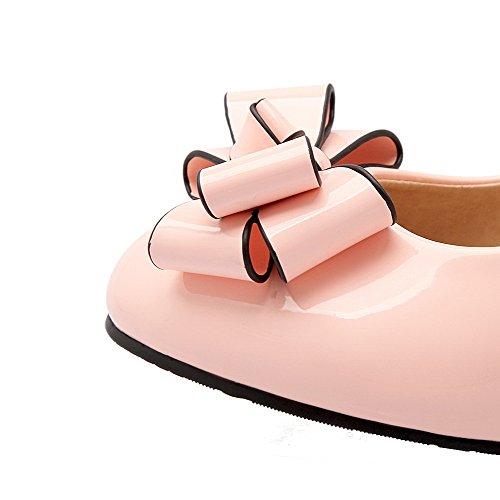AllhqFashion Femme Verni Rond à Talon Bas Tire Couleur Unie Chaussures Légeres Rose