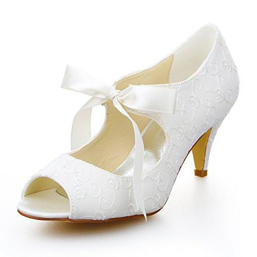 Jia jia scarpe da sposa da donna peep toe mid heel pompe di raso con cravatta di gomma scarpe da sposa colore avorio, taglia 40 eu