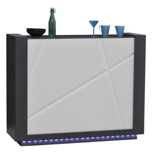 Sciae 13St4110 Quartz 67, Barelement mit 4 Holzböden, Sichtrückwand, 125 x 100 x 41 cm, Korpus Esche-Dunkelgrau, hochglanz-weiß-lackiert