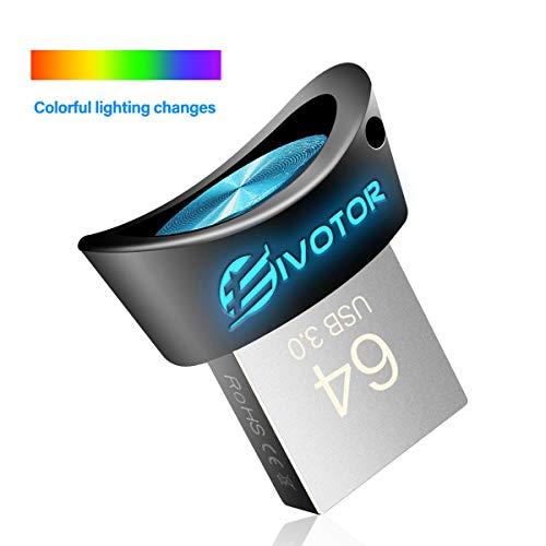 Memoria USB 64GB 3.0, EIVOTOR USB Stick LED Color Degradado Mini Flash Drive Pendrive Portátil Pennetta Impermeable Memory Stick para PC/Tablet/Notebook/Car/Computadora (64GB)