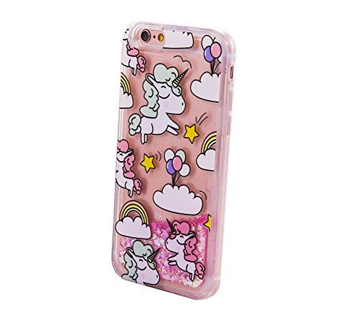 Bubblegum Fällen Supercute Tier Glitzer Fällen für iPhone Modelle, Unicorn Face Glitter, iPhone 5 5S Unicorn Balloon Glitter