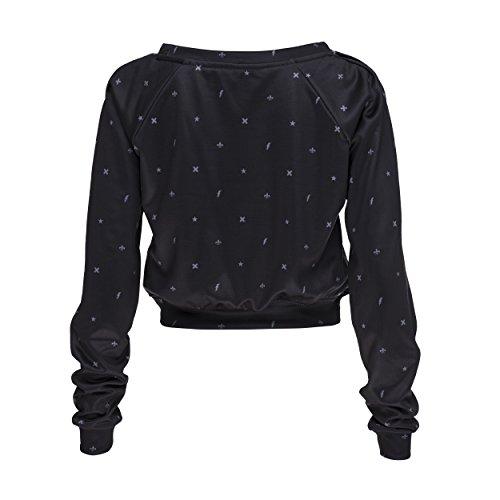 Who Cares Crop Sweatshirt Pullover Damen Mädchen Festival Sweater Top Sweatshirt Pulli Hipster Blogger Cropped Pullover Sommer Fullprint TROPICAL MILKYWAY