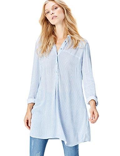 FIND Damen Langarmshirt mit Streifen, Blau (Blue Striped), 36 (Herstellergröße: Small) (Ärmel Linie Lange Feine)