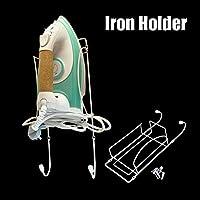 1PC Soporte de hierro montado en la pared, soporte de hierro para puerta o pared y tabla de planchar Colgador de acabado de cromo pulido, Soporte de tabla de planchar, Soporte para armario