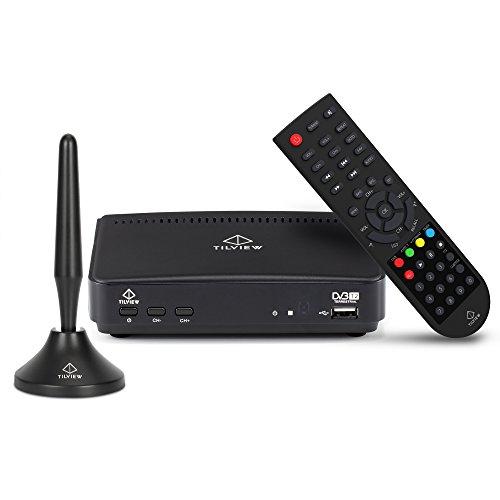 DVB-T/T2 Receiver mit Magnet Antenne, TILVIEW 1080P Digitaler HDTV Empfänger Digitales Kabel Receiver DVB-T / T2 für Analog / Digital TV, USB-Wiedergabe Aufnahme- und Pause-Funktion für Live-TV