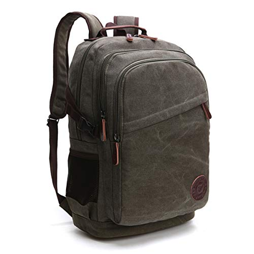 Neusky Vintage Canvas Rucksack Laptoprucksack Retro Schulrucksack Backpack Daypack für Uni, Laptop, Wandern, Outdoor Sport, Freizeit, Einkaufen mit der großen Kapazität (Grün)