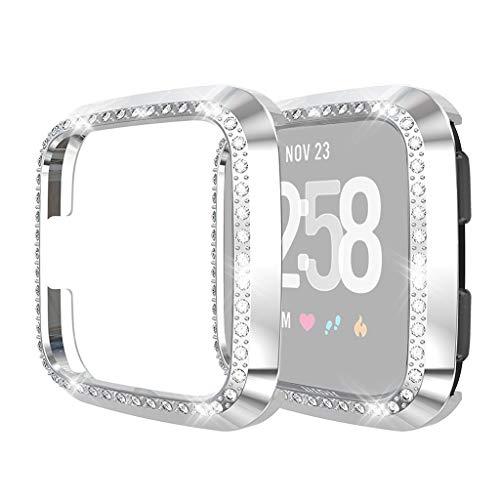 HSKB Watch Kratzfest Schutzhülle Schale Hülle für Fitbit Versa/Lite Uhr Watch Active TPU Gehäuse Vollschutz Kratzfest Displayschutz Protector Ultra-dünner Luxuskristallschirm Abdeckung Case (Silber)