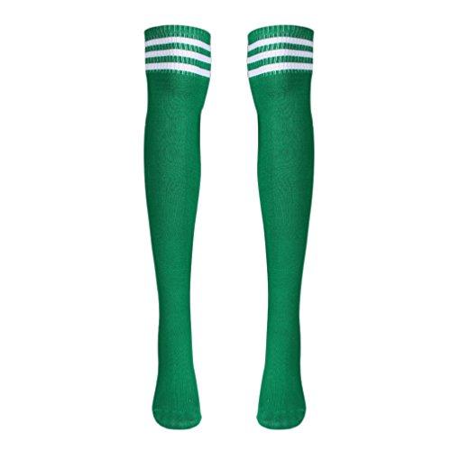 Tonsee Mode Design Frauen Mädchen über die Kniestrümpfe Oberschenkel hohe Dicke Socken Stripe wie Strümpfe Striped solid color 5 Wahl (grün)