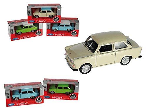 Preis am Stiel Modellauto mit Rückziehmotor, Trabant 601 - türkis/weiß