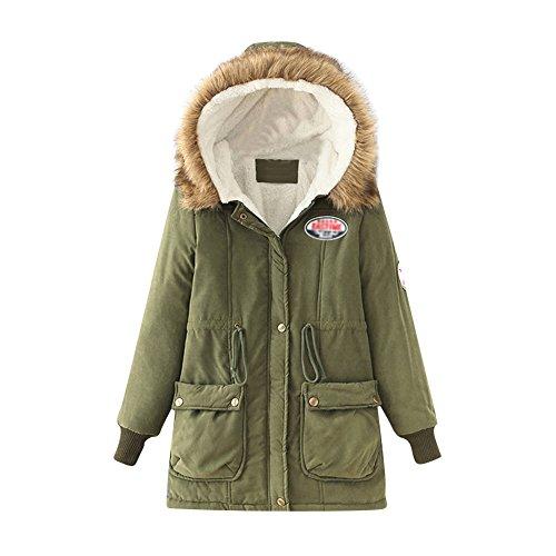 Damen Winterparka Weinachtsgeschenke Winterjacke Fellkapuze Jacken Mit Kapuze Damen Parka Armeegrün L