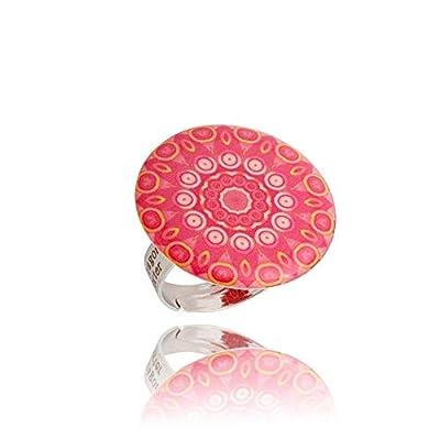 Belle Bagues Fantaisie Ronde de couleur Rouge; Cadeau Amusant Été pour ma Copine Dragon Porter; Réglable, Design Diamètre 2.5cm