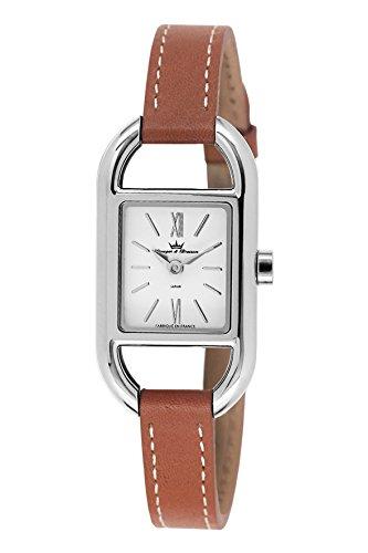 Hause Etabliert (Yonger & Bresson–DCC 1694–02Damen-Armbanduhr–Quarz Analog–Weißes Ziffernblatt–Armband Leder braun)