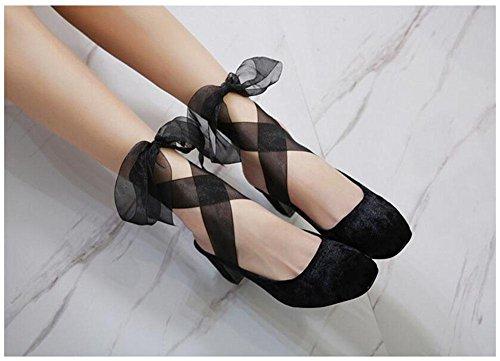 Jane Comodo del nastro Pumps Closed Toe GLTER 35 testa dei 40 Mary basso Donne sandali moda quadrata Black pistoni tacco UE XqwBAa